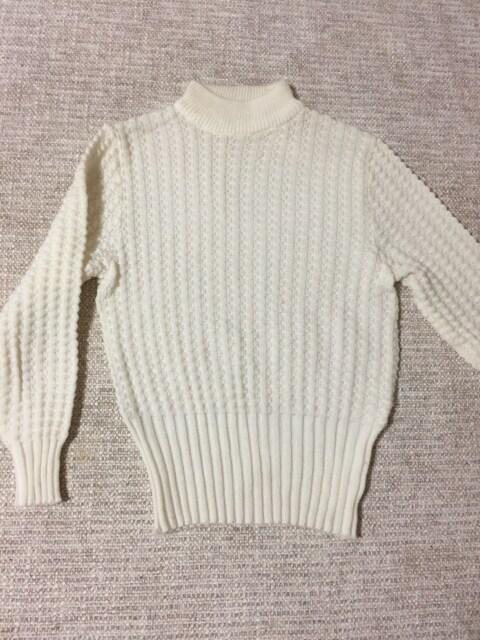 600.おうとつ編みリブニット☆セーター☆白/ホワイト☆S程度  < 女性ファッションの