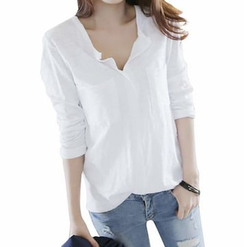 Vネック カットソー スキッパーシャツ (ホワイト、Sサイズ)