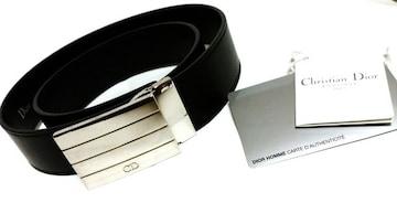 正規新古 激レア Dior Homme ディオールオム スクエアCDバックルベルト黒 最小75