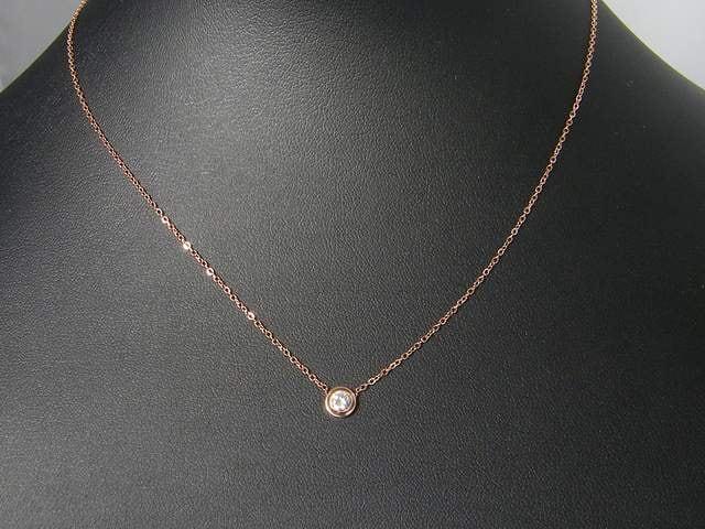18金ピンクゴールドフィルド シンプル ダイヤ ネックレス  < 女性アクセサリー/時計の