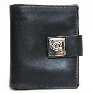 フェラガモ 二つ折り財布 コンパクト財布レザー黒 良品 正規品