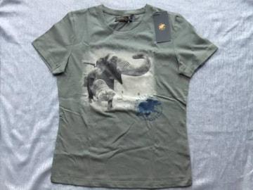 新品タグ付■ハンティングワールド伊製/半袖象柄TシャツカーキーL¥11000