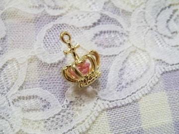 デコ電アクセパーツ王冠クラウン金×ピンク