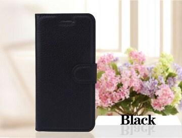 iPhone7/8Plus 手帳型収納レザーケース+フィルム 黒色