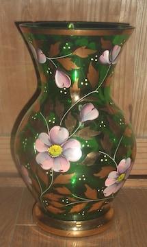 ボヘミアグラス風クリスタル緑ガラス花絵花瓶