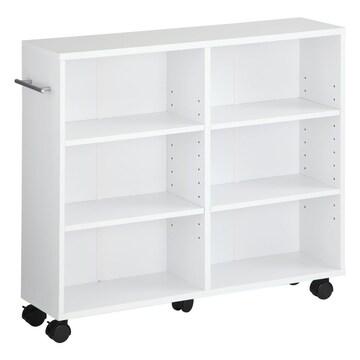 本棚 キャスター付 隙間収納 木製 取っ手付 ホワイト