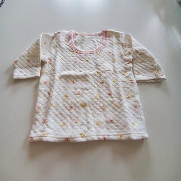白にクマ模様ピンクのふち長袖シャツ�@