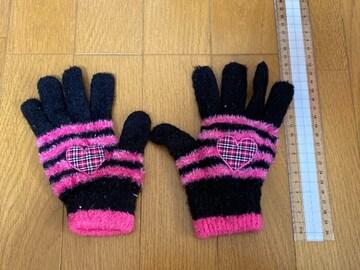 美品☆黒×ピンク×ハート女児ふわふわ手袋
