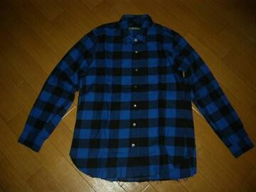 新品 ナノユニバース nano・universe チェックシャツ S青黒 長袖