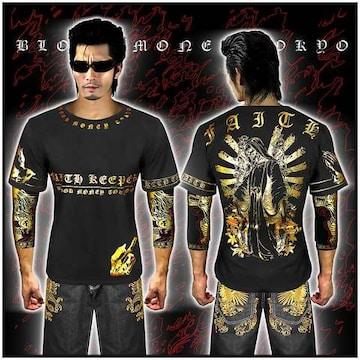 送料無料!ヤクザ悪羅悪羅系/オラオラ系スカルマリア半袖Tシャツ服/14005黒XL
