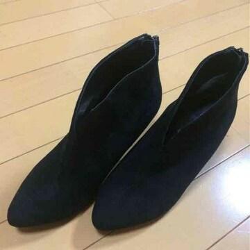 美品◆スエードショートブーツ◆ブーティー◆23.0◆ブラック