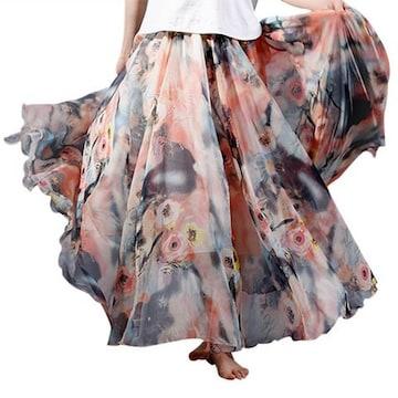裾広幅★ヘムライン★花柄シフォン★ロングスカート(オレンジ)