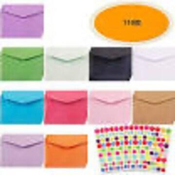 110枚ミニ封筒 セット 無地封筒 長形 カラフル 14色 メッセージ