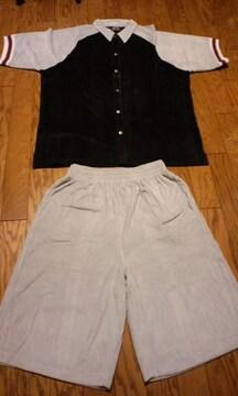 MUZI黒−グレー 半袖短パン セットアップ サイズXXL→3XL位�@