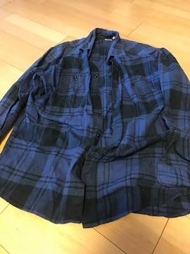 UNIQLO!XLサイズ!ブルー×ブラックのチェックのシャツ