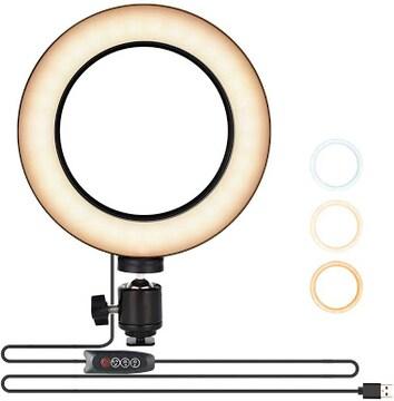 UTEBIT 5W LED リングライト + ミニ自由雲台 セット 160球 外径