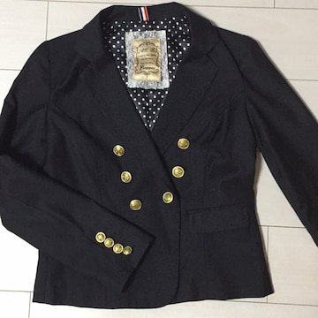 黒☆ブラック☆長袖ジャケット☆スーツ系☆金ボタン☆裏地ドット