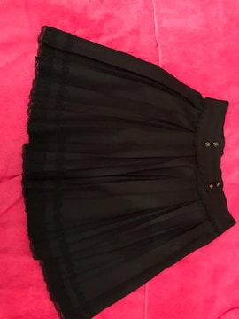 大人フェミニン プリーツ スカート 薔薇 裾レースヒラヒラ L