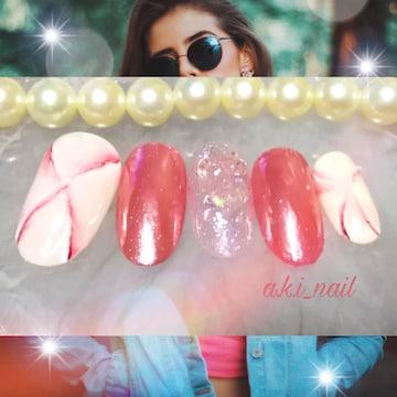 ジェルネイルチップ☆付け爪〜ピンク大理石柄×ミラー