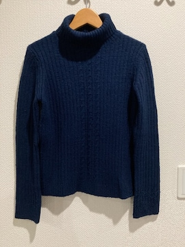Auntie Rosa アンティローザ ニット セーター タートルネック トップス 紺 ネイビー