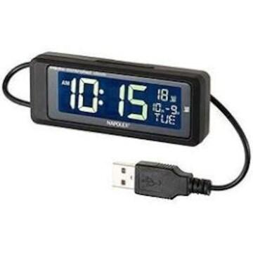 ナポレックス 車用電波時計 USB給電タイプ 常時点灯のLED 大型液