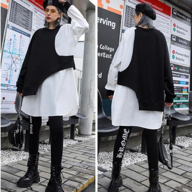 チュニックワンピース ドルマン 重ね着風 バイカラー 長袖  < 女性ファッションの