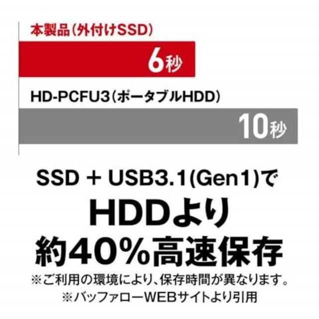 BUFFALO 小型ポータブルSSD 120GB ブラック SSD-PL120U3-BK/N(a) < PC本体/周辺機器の