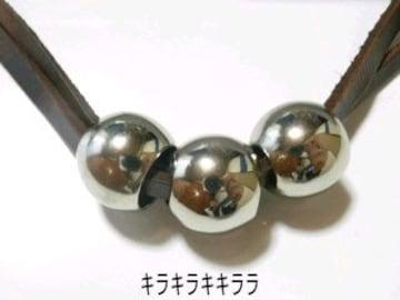 2連レザー激シブ★カジュアル(シルバースリーボール)*チョーカー/ネックレス