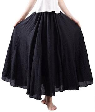 ふんわり★森ガール★マキシ丈スカート(フリーサイズ、黒)