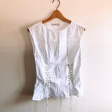 ◆ZARA/ザラ◆レースアップノースリシャツ★ホワイトS*シンプルコーデ♪美品