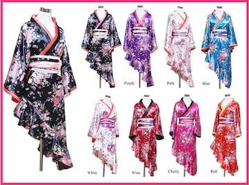 裾フリル/斜めカット着物ロングドレス☆帯付★キャバ☆コスプレ