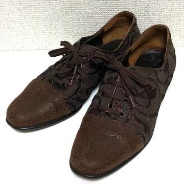 miele レザー×刺繍 レースアップシューズ ITALY製 36 ブラウン 茶色 23cm