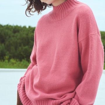 ◆GU/ジーユー◆新品!!オーバーサイズハイネックニットチュニック(長袖)★ピンクS*完売品
