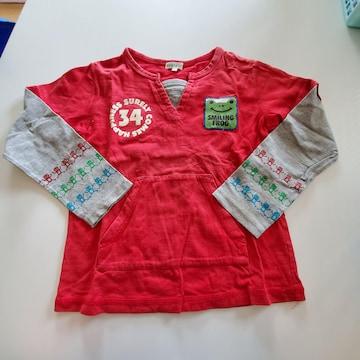 赤に34袖かえる模様、長袖Tシャツ120