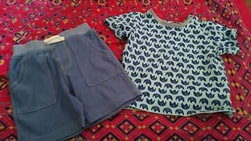キッズ★カジュアル☆ゾウ柄Tシャツ&パンツset size90