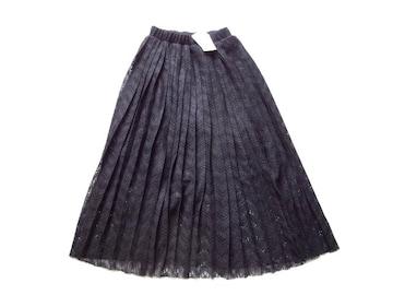 新品 定価4900円  w closet 黒 レース プリーツ ロング スカート