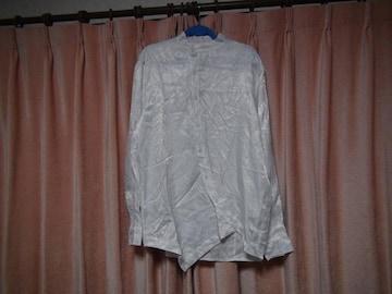 Amade メンズ シャツ 長袖 ペイズリー柄 ホワイト(XL)!。