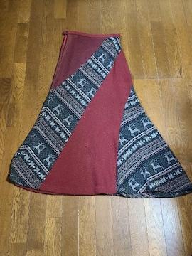 送料無料/クリスマス柄ニットロングスカート/トールサイズ