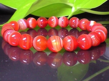 サードオニキス赤縞瑪瑙8ミリAAA夫婦和合数珠