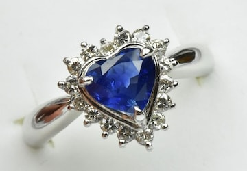 Pt900 綺麗な ハート サファイア ダイヤモンドリング 10号 指輪