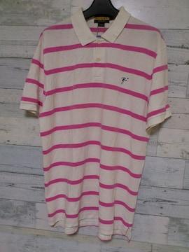 セールRUGBYラグビー★ホワイトピンク ボーダーポロシャツ