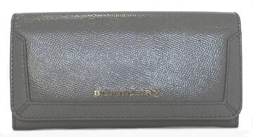 未使用正規バーバリー長財布レザーグレー財布レディー