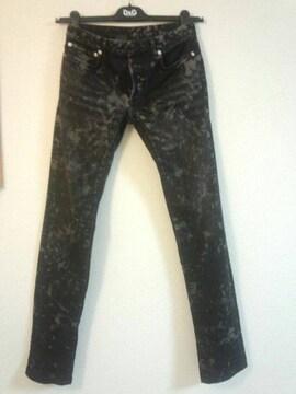 正規極美 激レア Dior Hommeディオールオム ペイント加工デニム26 黒ムラ染 兼用