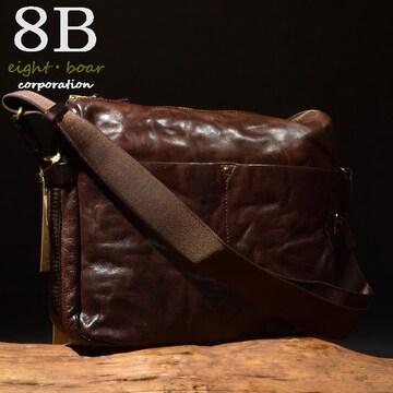 ◆Rock Lether 牛本革 B5サイズ  中型ショルダーバッグ◆茶k23