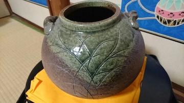 信楽焼→緑釉→釘→彫り→提灯壺〜良い信楽焼です