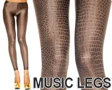 4A2)MusicLegsパイソンレギンスストッキングゴールドタイツ蛇柄ダンサーB系ダンス衣装