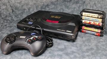 中古 メガドライブ+ソフト5本 初期動作確認 本体横蓋欠品