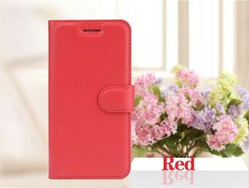 iPhone7/8Plus 手帳型収納レザーケース+強化保護フィルム 赤色
