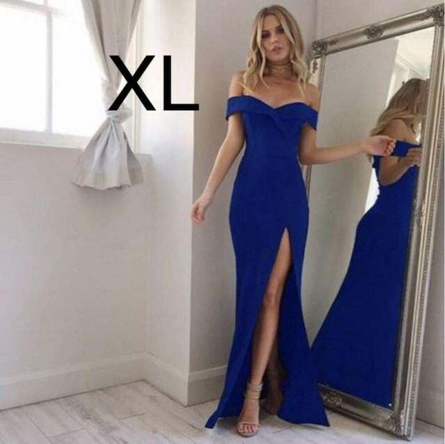 新品☆胸元sexy♪スリット 綺麗マキシワンピ ブルー XL  < 女性ファッションの