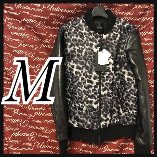 M・フェイクレザー切替豹柄ジャケット 新品黒/02P409-101s  < 男性ファッションの